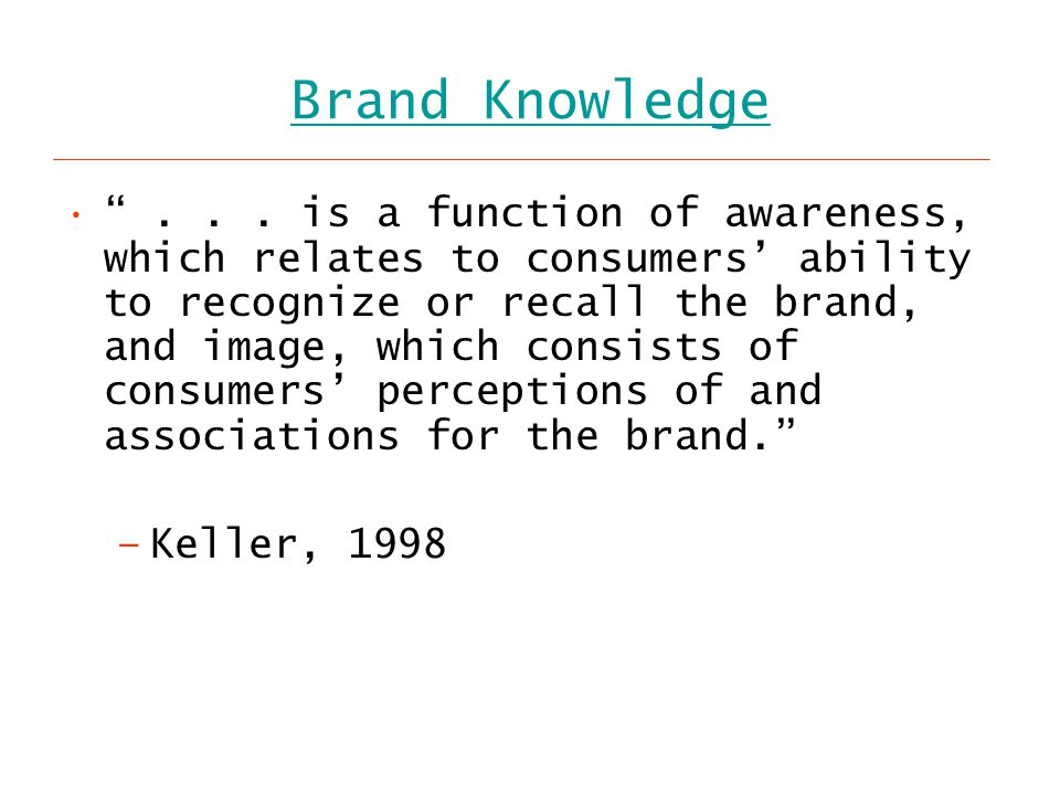 Brand Knowledge ...