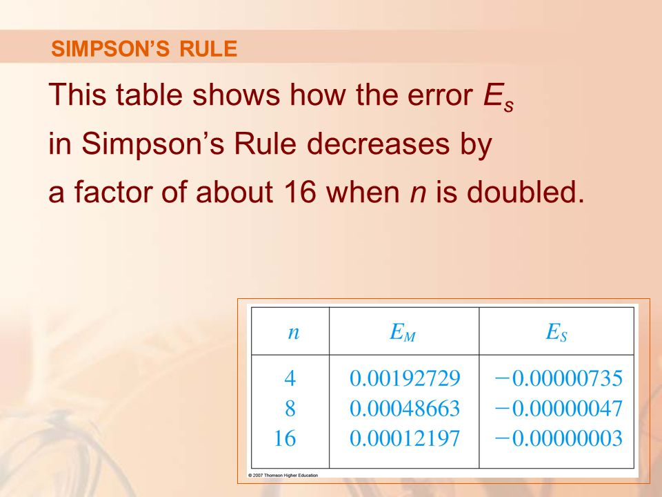 SIMPSON'S RULE This table shows how the error E s in Simpson's Rule decreases by a factor of about 16 when n is doubled.