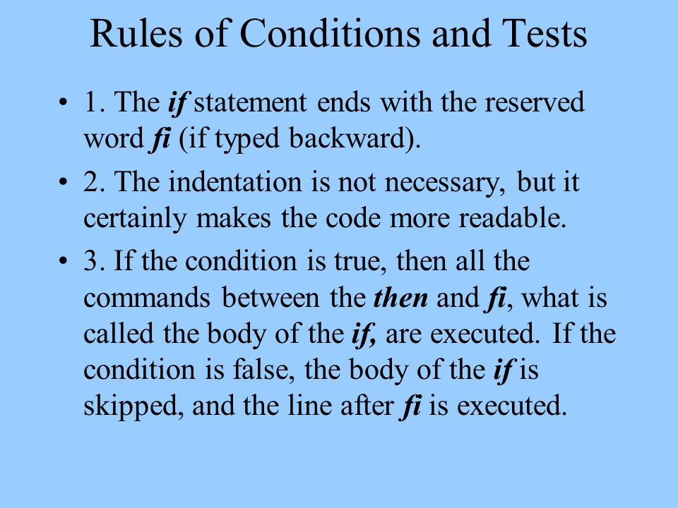 Rules of Conditions and Tests 1.