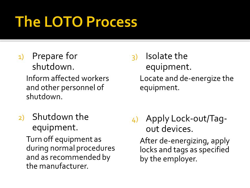 1) Prepare for shutdown. Inform affected workers and other personnel of shutdown.