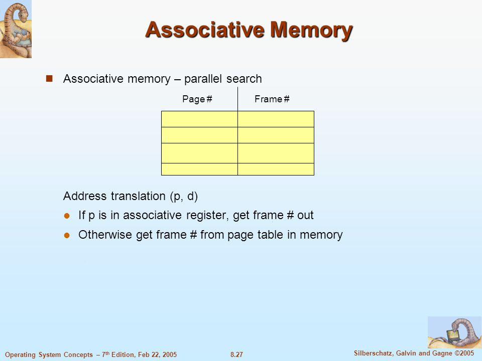 8.27 Silberschatz, Galvin and Gagne ©2005 Operating System Concepts – 7 th Edition, Feb 22, 2005 Associative Memory Associative memory – parallel search Address translation (p, d) If p is in associative register, get frame # out Otherwise get frame # from page table in memory Page #Frame #
