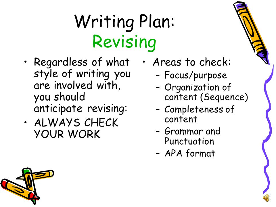 Writing Plan: Conclusion Use the conclusion to wrap up your main point(s) It may summarize the key points made in the body of your paper without introducing new concepts You may give suggestions, advice, or propose future study needs It should be decisive and come full circle (from the introduction)