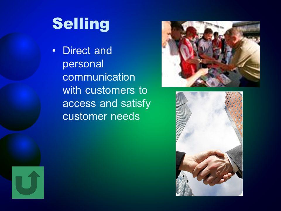 Selling Direct and personal communication with customers to access and satisfy customer needs