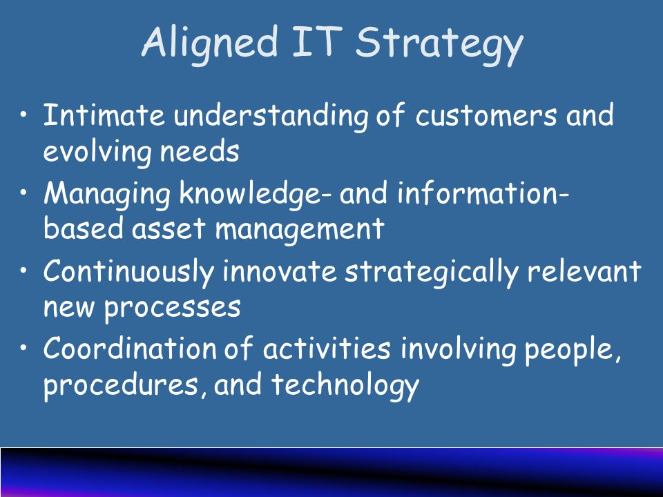 Aligned IT Strategy Intimate understanding of customers and evolving needs Managing knowledge- and information- based asset management Continuously innovate strategically relevant new processes Coordination of activities involving people, procedures, and technology