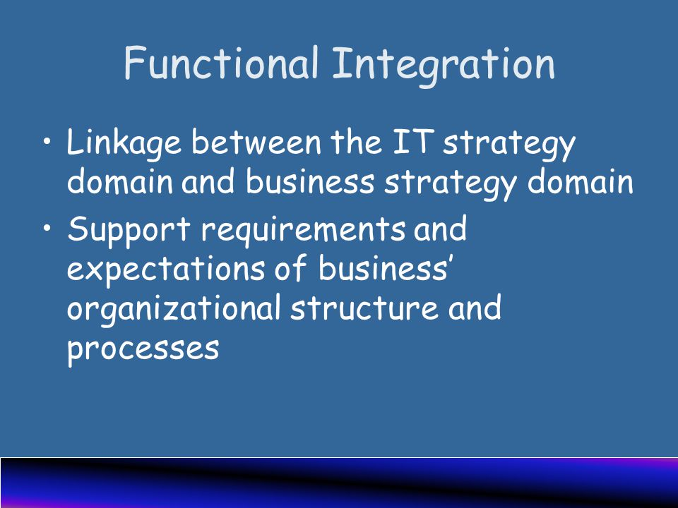 Functional Integration Linkage between the IT strategy domain and business strategy domain Support requirements and expectations of business' organizational structure and processes