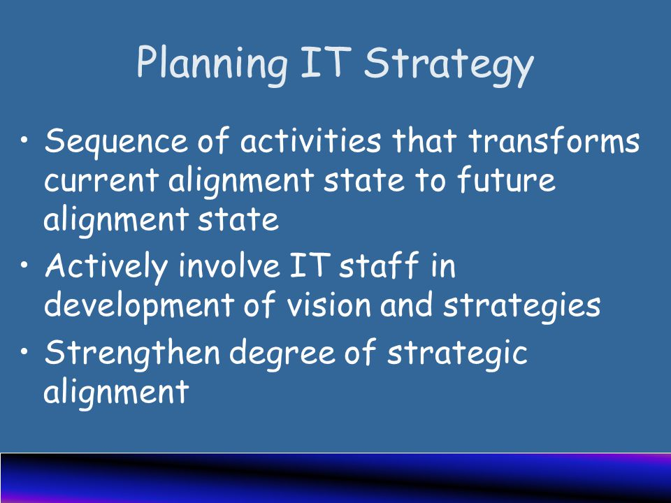 Planning IT Strategy Sequence of activities that transforms current alignment state to future alignment state Actively involve IT staff in development of vision and strategies Strengthen degree of strategic alignment