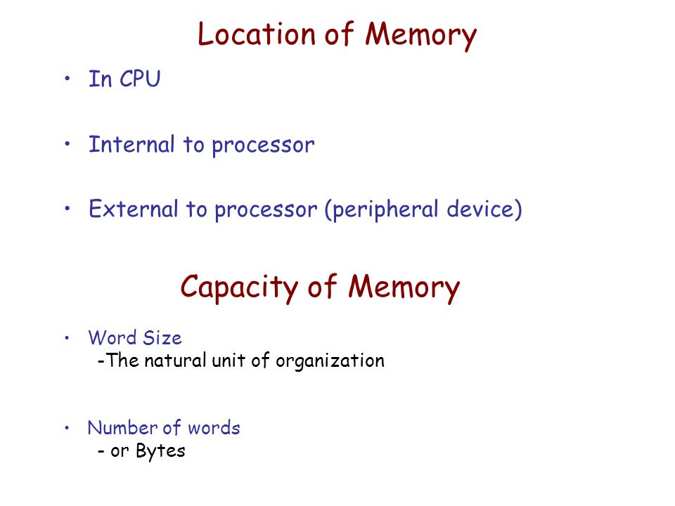 Location of Memory In CPU Internal to processor External to processor (peripheral device) Capacity of Memory Word Size -The natural unit of organization Number of words - or Bytes