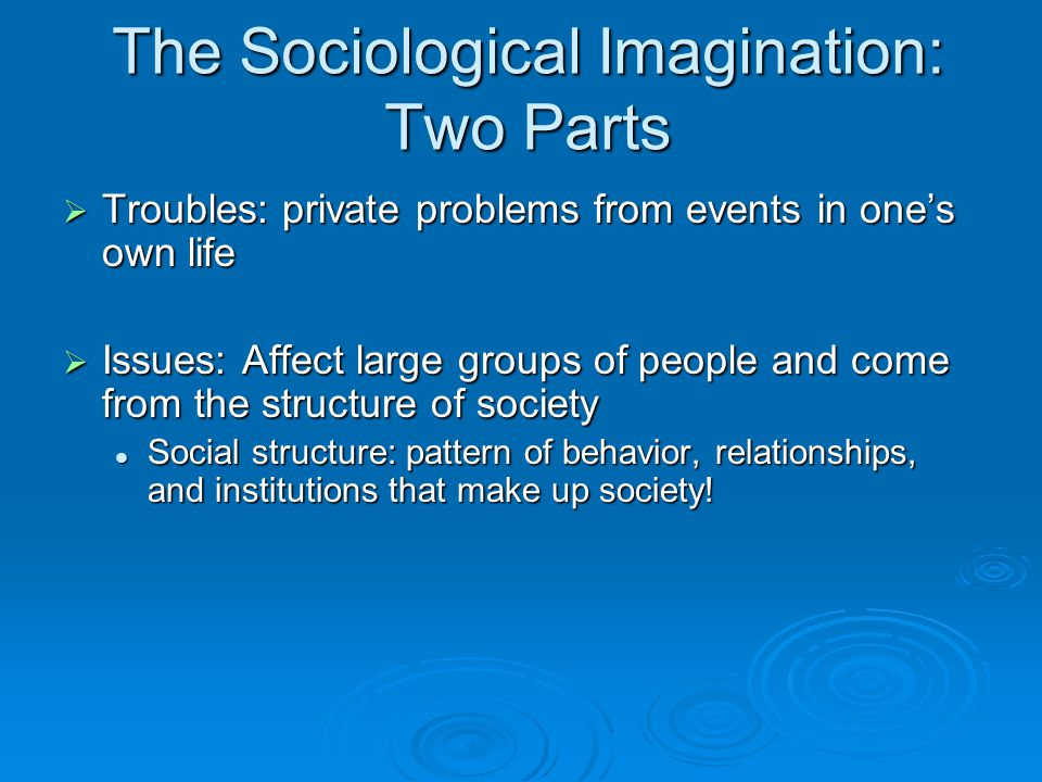 The Sociological Imagination: Two Parts  Troubles: private problems from events in one's own life  Issues: Affect large groups of people and come from the structure of society Social structure: pattern of behavior, relationships, and institutions that make up society.