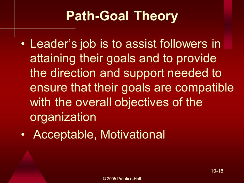 © 2005 Prentice-Hall Path-Goal Theory Leader's job is to assist followers in attaining their goals and to provide the direction and support needed to ensure that their goals are compatible with the overall objectives of the organization Acceptable, Motivational