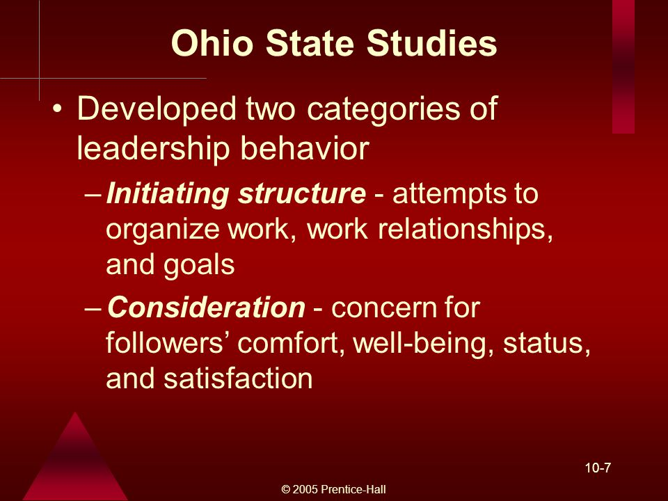 © 2005 Prentice-Hall 10-7 Ohio State Studies Developed two categories of leadership behavior –Initiating structure - attempts to organize work, work relationships, and goals –Consideration - concern for followers' comfort, well-being, status, and satisfaction