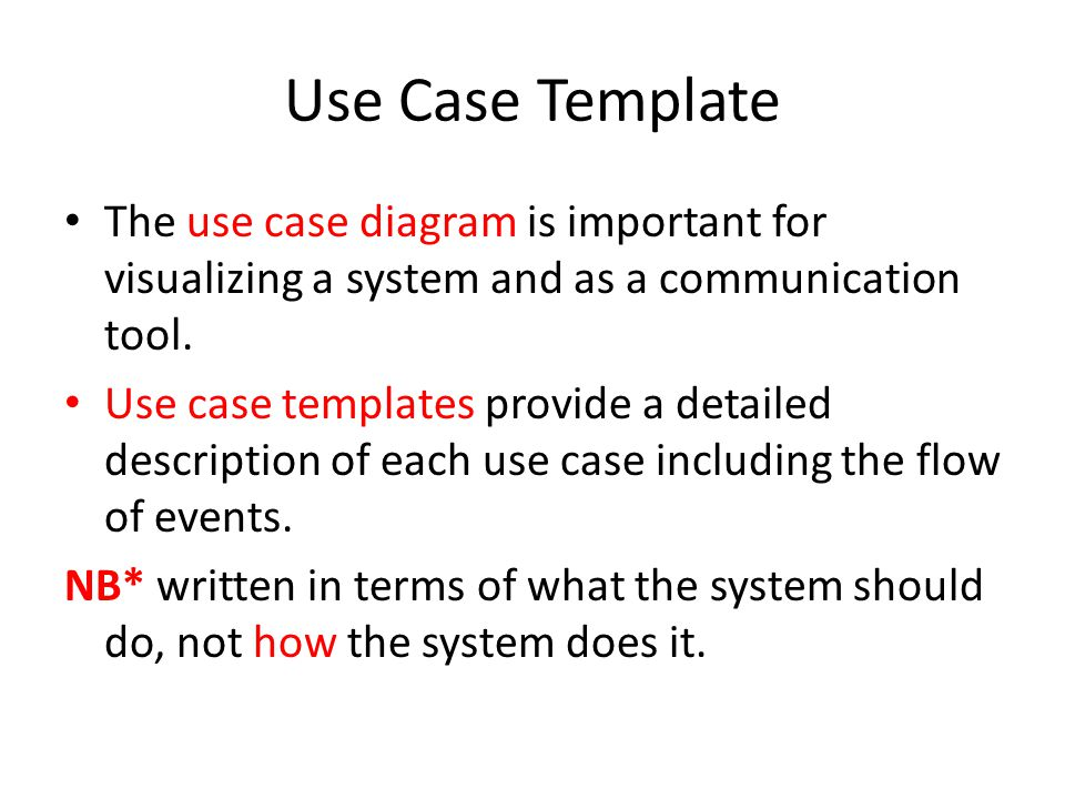 adding the detail filling in use case templates. use case template, Presentation templates