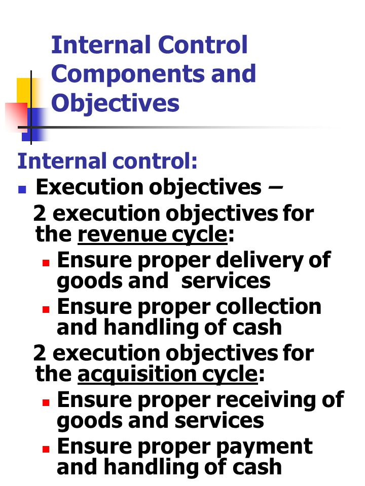 Internal Control Components and Objectives Internal control: Execution objectives – 2 execution objectives for the revenue cycle: Ensure proper delivery of goods and services Ensure proper collection and handling of cash 2 execution objectives for the acquisition cycle: Ensure proper receiving of goods and services Ensure proper payment and handling of cash