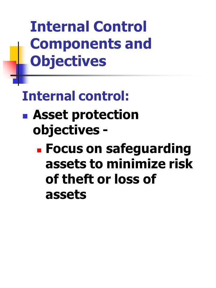 Internal Control Components and Objectives Internal control: Asset protection objectives - Focus on safeguarding assets to minimize risk of theft or loss of assets