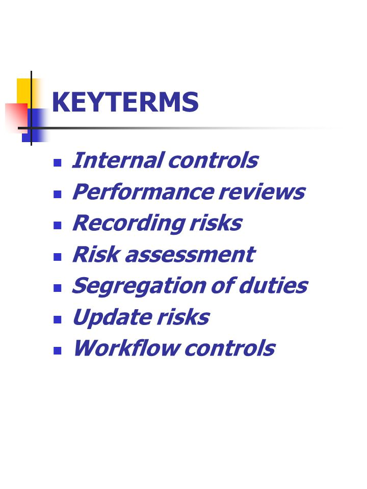 KEYTERMS Internal controls Performance reviews Recording risks Risk assessment Segregation of duties Update risks Workflow controls