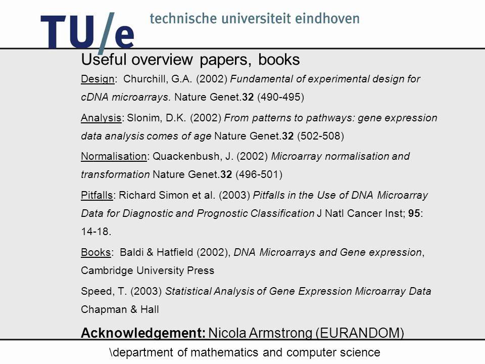 \department of mathematics and computer science Useful overview papers, books Design: Churchill, G.A.
