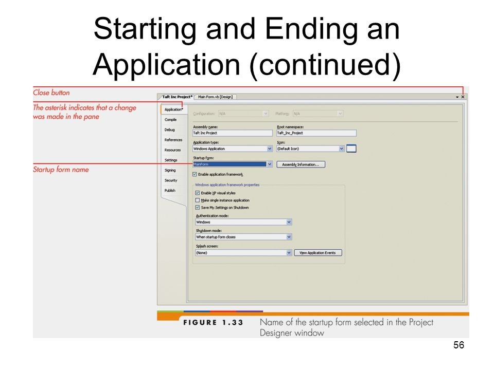 56 Starting and Ending an Application (continued)