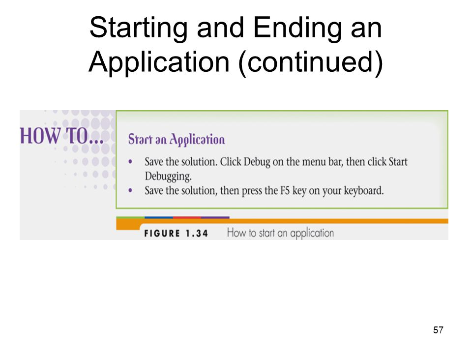 57 Starting and Ending an Application (continued)