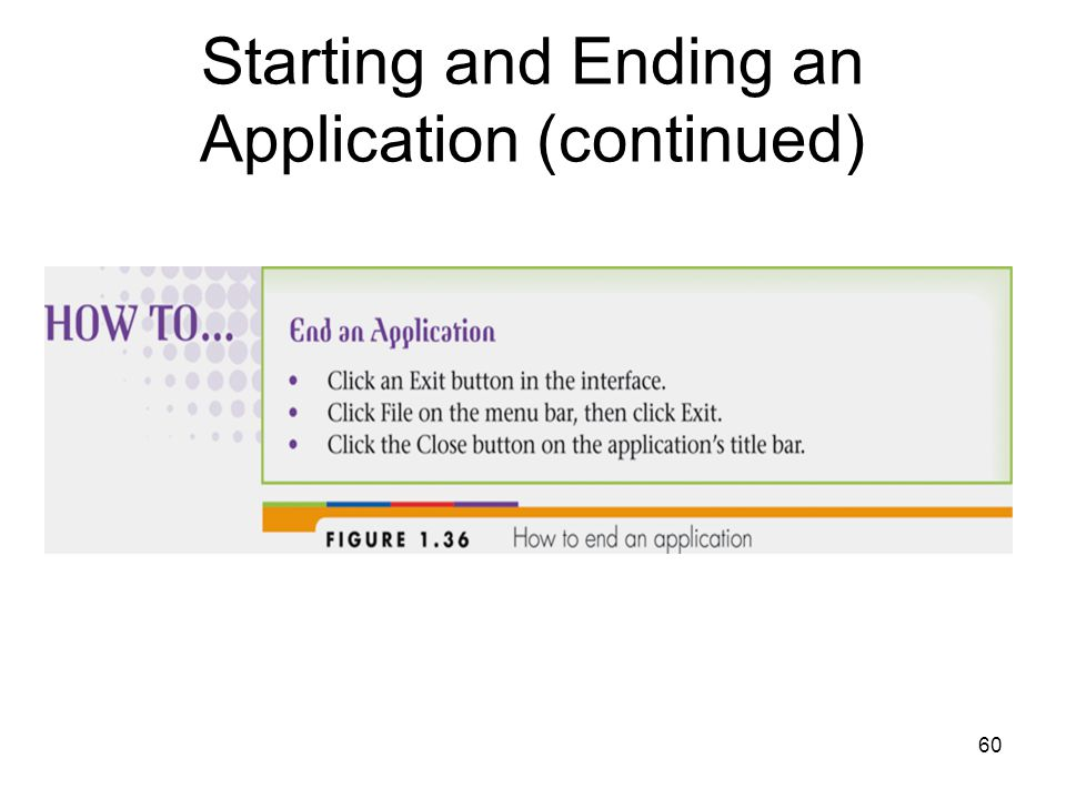 60 Starting and Ending an Application (continued)