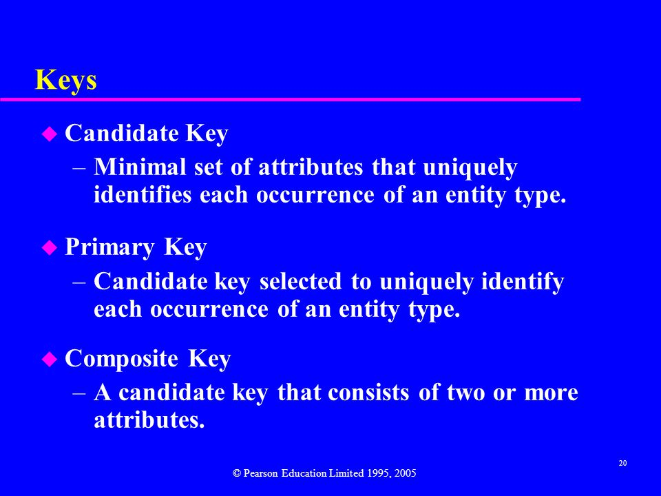 20 Keys u Candidate Key –Minimal set of attributes that uniquely identifies each occurrence of an entity type.