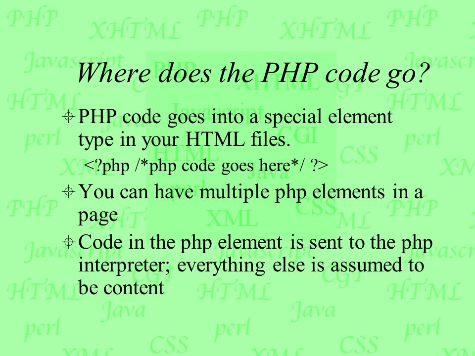 Where does the PHP code go.  PHP code goes into a special element type in your HTML files.