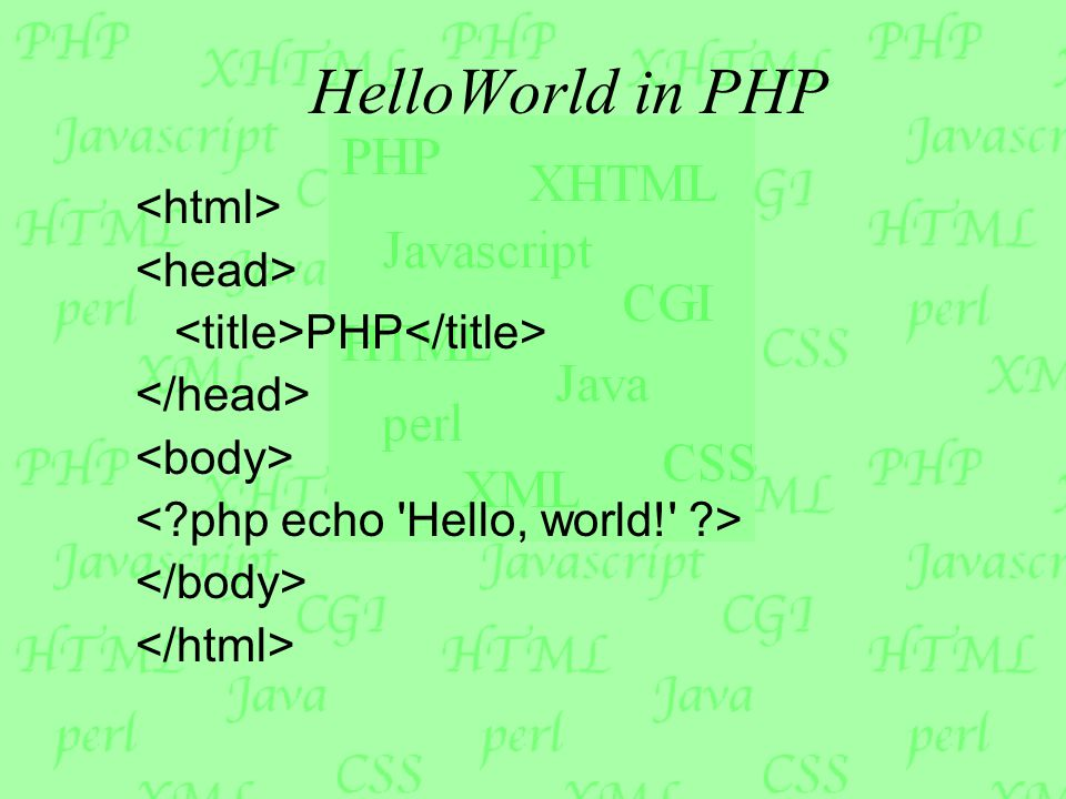 HelloWorld in PHP PHP