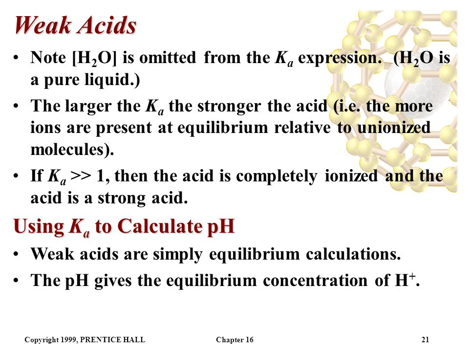 Copyright 1999, PRENTICE HALLChapter 1620 Weak Acids