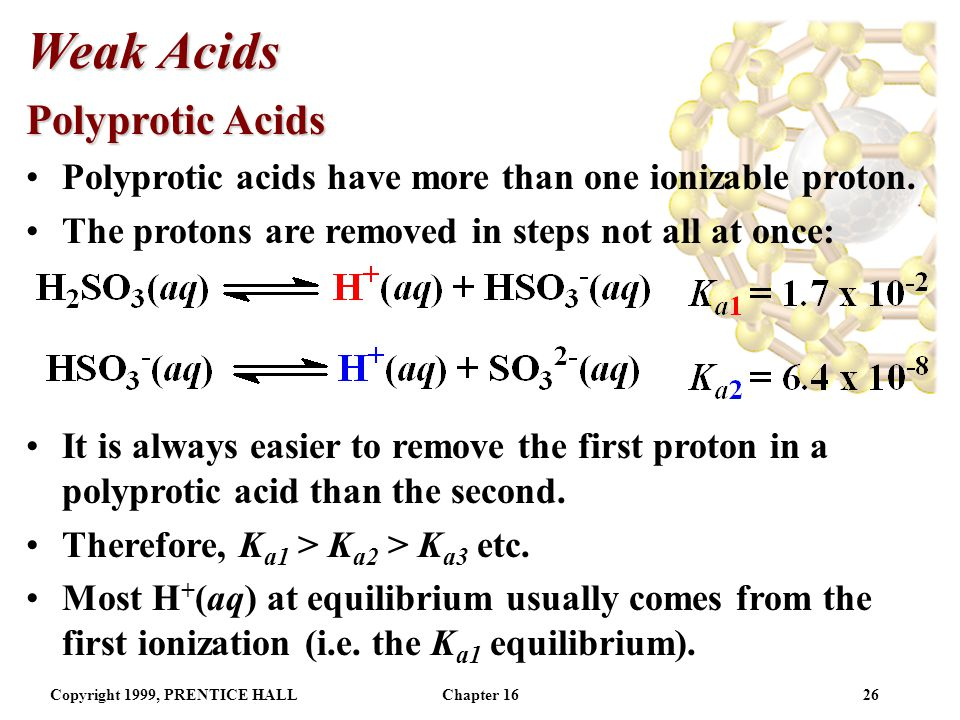 Copyright 1999, PRENTICE HALLChapter 1625 Weak Acids Using K a to Calculate pH