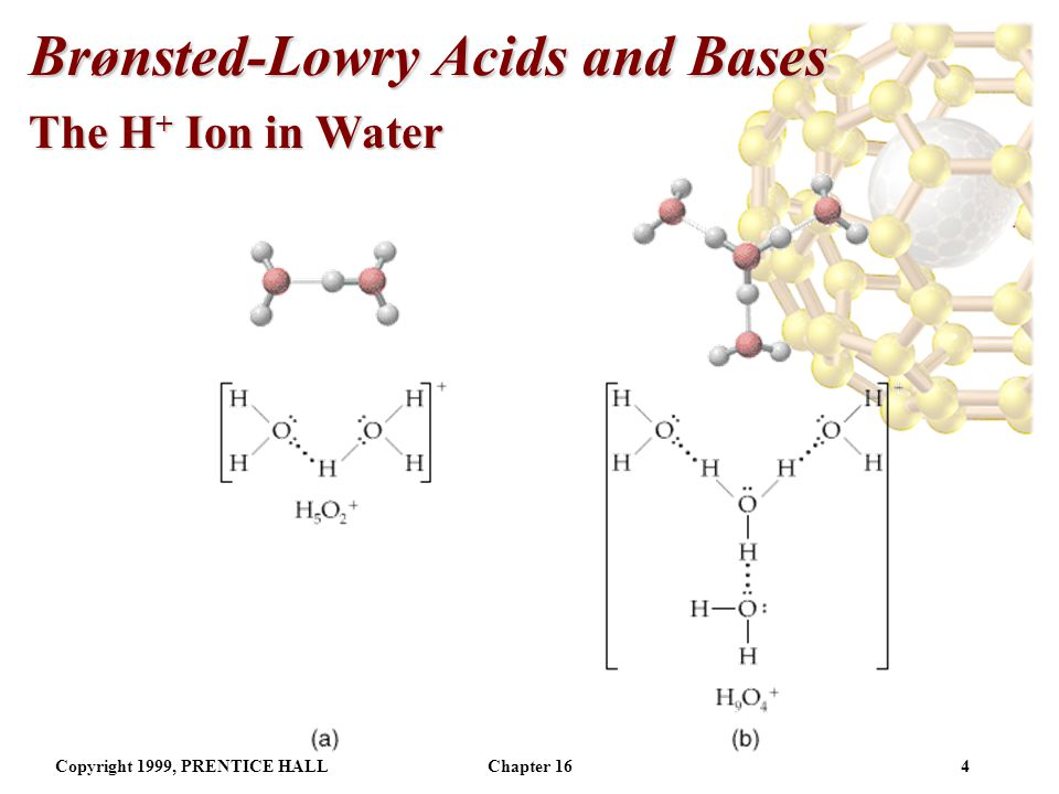 Copyright 1999, PRENTICE HALLChapter 163 Brønsted-Lowry Acids and Bases The H + Ion in Water The H + (aq) ion is simply a proton with no electrons.