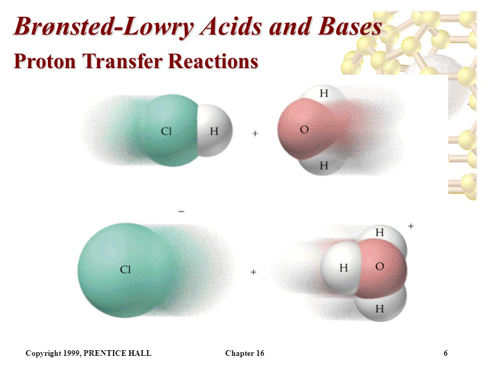 Copyright 1999, PRENTICE HALLChapter 165 Brønsted-Lowry Acids and Bases Proton Transfer Reactions Focus on the H + (aq).