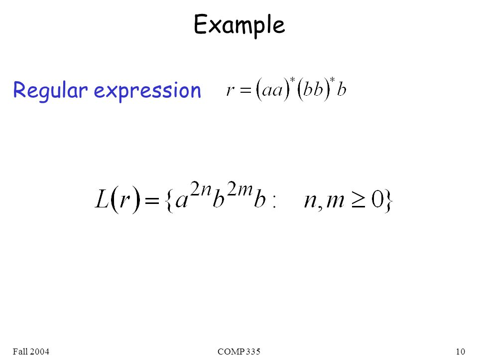 Fall 2004COMP Example Regular expression