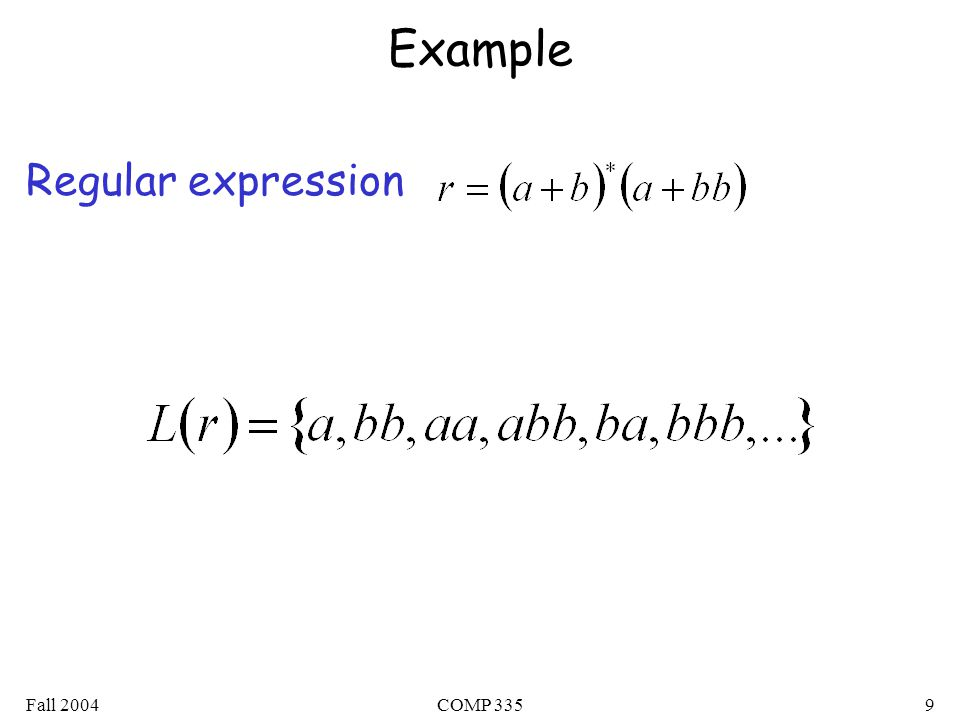 Fall 2004COMP 3359 Example Regular expression