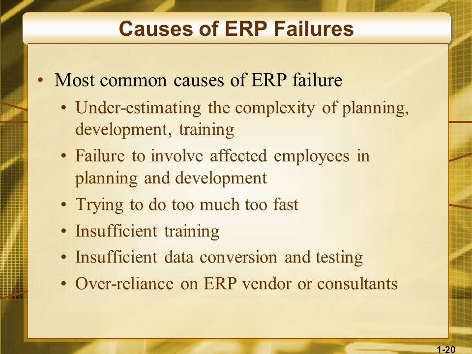 1-20 Causes of ERP Failures Most common causes of ERP failure Under-estimating the complexity of planning, development, training Failure to involve affected employees in planning and development Trying to do too much too fast Insufficient training Insufficient data conversion and testing Over-reliance on ERP vendor or consultants