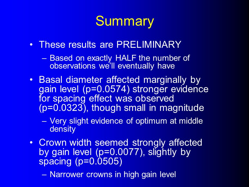 Summary These results are PRELIMINARY –Based on exactly HALF the number of observations we'll eventually have Basal diameter affected marginally by gain level (p=0.0574) stronger evidence for spacing effect was observed (p=0.0323), though small in magnitude –Very slight evidence of optimum at middle density Crown width seemed strongly affected by gain level (p=0.0077), slightly by spacing (p=0.0505) –Narrower crowns in high gain level