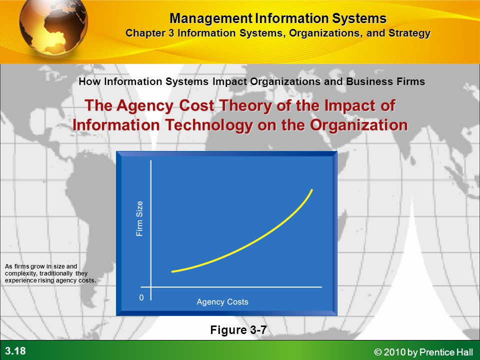 3.18 © 2010 by Prentice Hall The Agency Cost Theory of the Impact of Information Technology on the Organization Figure 3-7 As firms grow in size and complexity, traditionally they experience rising agency costs.
