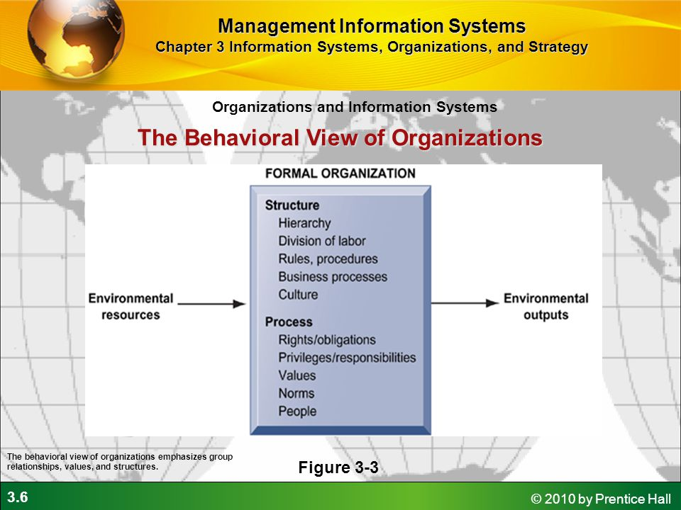 3.6 © 2010 by Prentice Hall The Behavioral View of Organizations Figure 3-3 The behavioral view of organizations emphasizes group relationships, values, and structures.