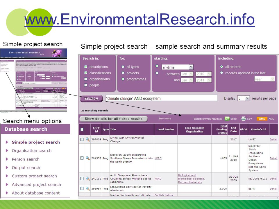 Simple project search Search menu options Simple project search – sample search and summary results