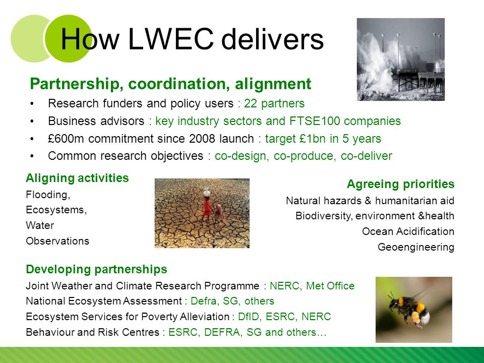 How LWEC delivers Partnership, coordination, alignment Research funders and policy users : 22 partners Business advisors : key industry sectors and FTSE100 companies £600m commitment since 2008 launch : target £1bn in 5 years Common research objectives : co-design, co-produce, co-deliver Agreeing priorities Natural hazards & humanitarian aid Biodiversity, environment &health Ocean Acidification Geoengineering Aligning activities Flooding, Ecosystems, Water Observations Developing partnerships Joint Weather and Climate Research Programme : NERC, Met Office National Ecosystem Assessment : Defra, SG, others Ecosystem Services for Poverty Alleviation : DfID, ESRC, NERC Behaviour and Risk Centres : ESRC, DEFRA, SG and others…