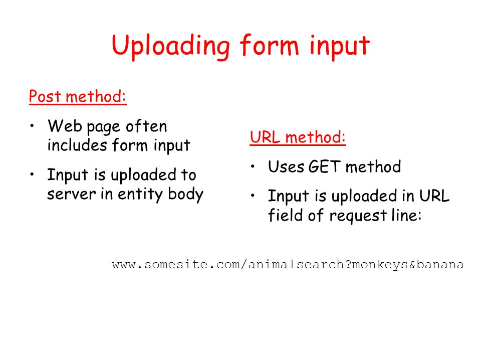 Uploading form input Post method: Web page often includes form input Input is uploaded to server in entity body URL method: Uses GET method Input is uploaded in URL field of request line:   monkeys&banana