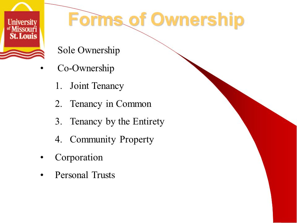 Forms of Ownership Sole Ownership Co-Ownership 1.Joint Tenancy 2.Tenancy in Common 3.Tenancy by the Entirety 4.Community Property Corporation Personal Trusts