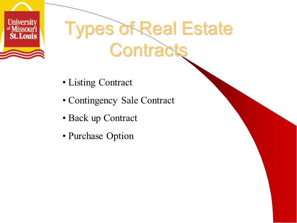 Types of Real Estate Contracts Listing Contract Contingency Sale Contract Back up Contract Purchase Option