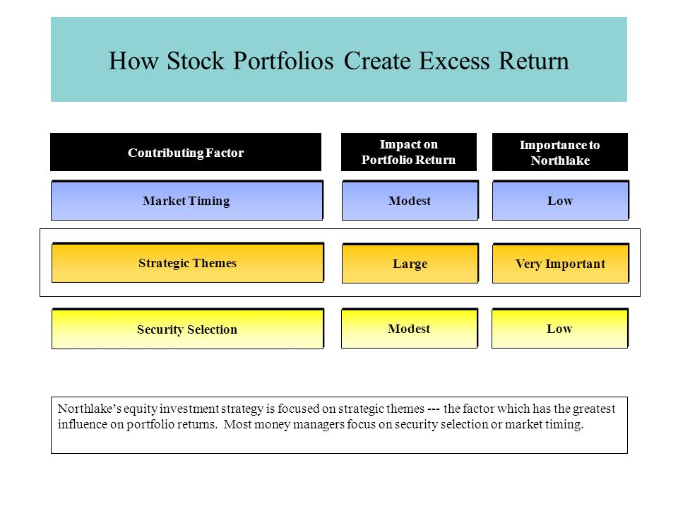 How Stock Portfolios Create Excess Return Market Timing Strategic Themes Security Selection Contributing Factor Modest Low Impact on Portfolio Return Importance to Northlake Large Very Important Modest Low Northlake's equity investment strategy is focused on strategic themes --- the factor which has the greatest influence on portfolio returns.