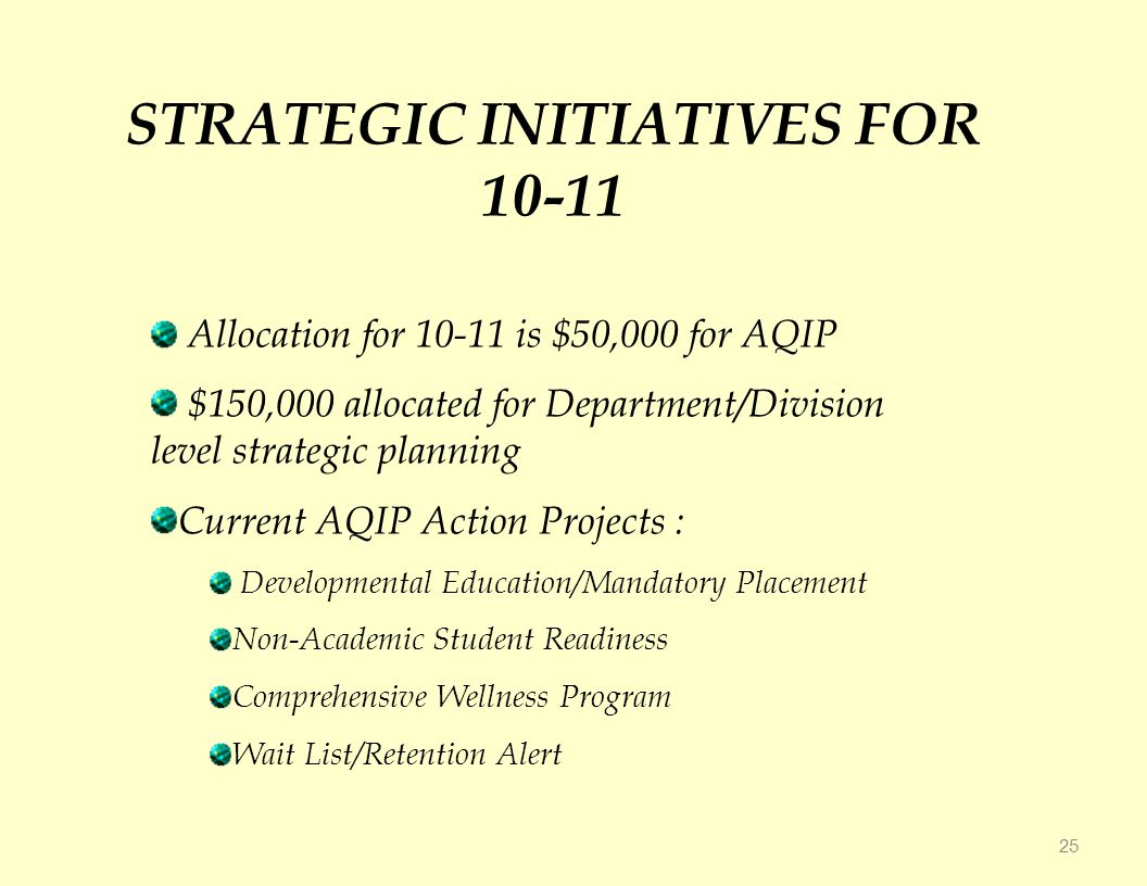 STRATEGIC INITIATIVES FOR Allocation for is $50,000 for AQIP $150,000 allocated for Department/Division level strategic planning Current AQIP Action Projects : Developmental Education/Mandatory Placement Non-Academic Student Readiness Comprehensive Wellness Program Wait List/Retention Alert