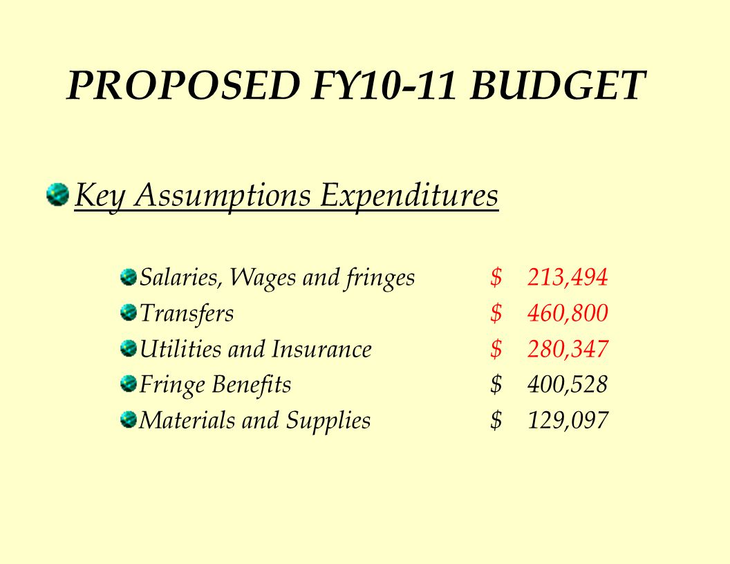 PROPOSED FY10-11 BUDGET Key Assumptions Expenditures Salaries, Wages and fringes $ 213,494 Transfers $ 460,800 Utilities and Insurance$ 280,347 Fringe Benefits$ 400,528 Materials and Supplies $ 129,097