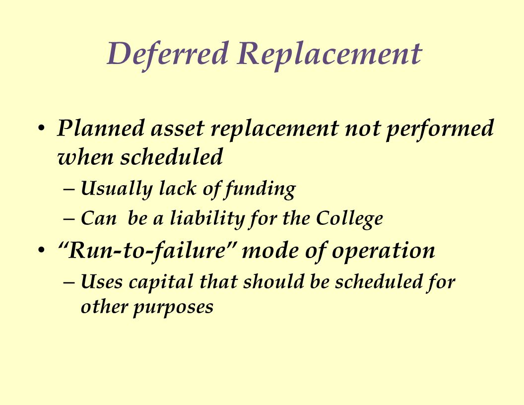 Deferred Replacement Planned asset replacement not performed when scheduled – Usually lack of funding – Can be a liability for the College Run-to-failure mode of operation – Uses capital that should be scheduled for other purposes