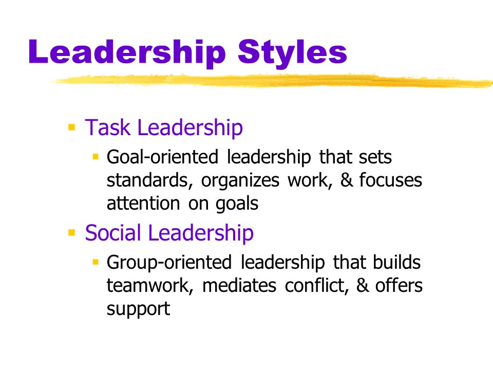 Leadership Styles  Task Leadership  Goal-oriented leadership that sets standards, organizes work, & focuses attention on goals  Social Leadership  Group-oriented leadership that builds teamwork, mediates conflict, & offers support