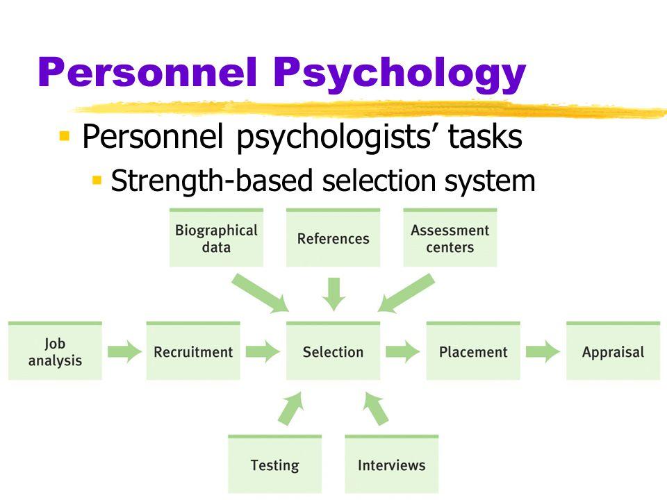 Personnel Psychology  Personnel psychologists' tasks  Strength-based selection system