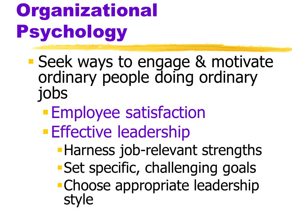 Organizational Psychology  Seek ways to engage & motivate ordinary people doing ordinary jobs  Employee satisfaction  Effective leadership  Harness job-relevant strengths  Set specific, challenging goals  Choose appropriate leadership style