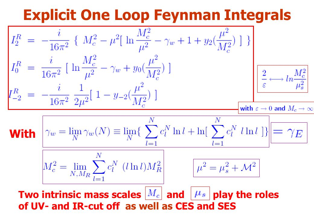 Explicit One Loop Feynman Integrals With Two intrinsic mass scales and play the roles of UV- and IR-cut off as well as CES and SES