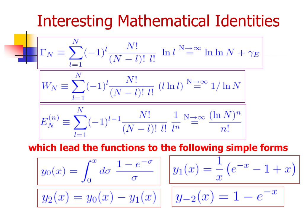 Interesting Mathematical Identities which lead the functions to the following simple forms