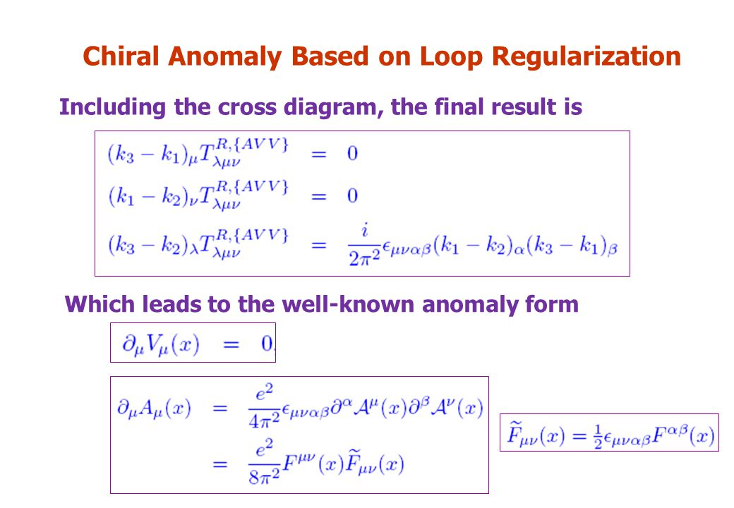 Chiral Anomaly Based on Loop Regularization Including the cross diagram, the final result is Which leads to the well-known anomaly form
